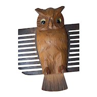 Rare Vintage Black Forest Carved Wood Owl Tie Wall Rack