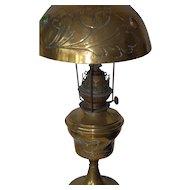 Lovely Art Nouveau Brass Jewelled Oil Lamp Floral Design