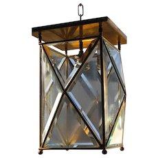 A Huge Antique Brass beveled Glass 1-light Hall Lantern