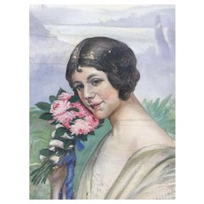 Art Nouveau - Deco Female Portrait Painting