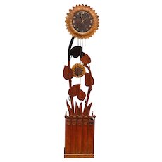 Rare Arts & Crafts Sun Flower Grandfather - Long Case Clock