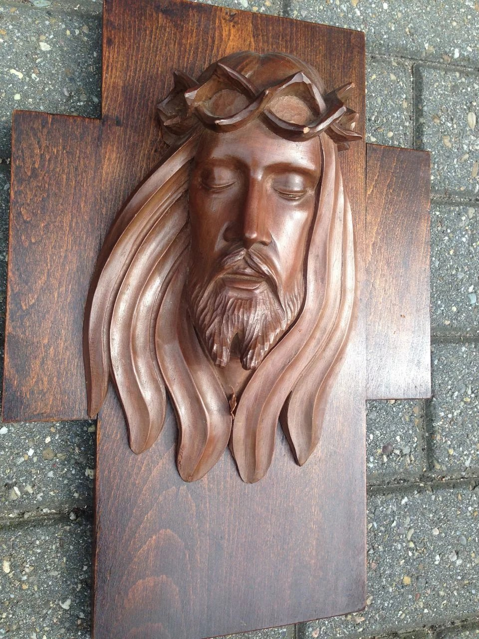 Crucifix carved wood cross jesus relief europe antiques