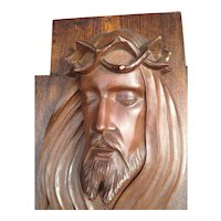 Crucifix Carved Wood Cross Jesus Relief