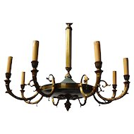 French Tole & Bronze Empire 8-light Chandelier