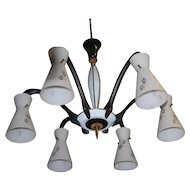 Vintage 1950 6-light Design Chandelier with Glass Shades