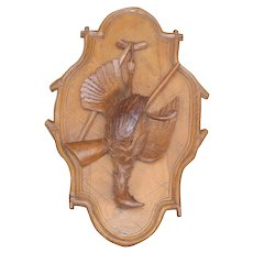 Black Forest carved Wood Plaque Game Bird Theme