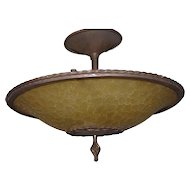 Vintage Wrought Iron Glass Fixture Chandelier Pendant Ceiling Light