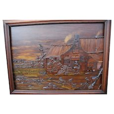 Large Wall Carved Wood Landscape Plaque Relief from Farm Life Outside