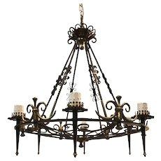 Large Wrought Iron Bronze Pendant Light