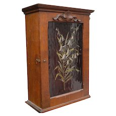 French Art Nouveau Wall Hanging Cabinet Flowery Decor
