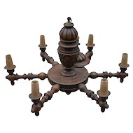 Walnut Chandelier Huge Antique Finest Carved Wood 6-light Chandelier