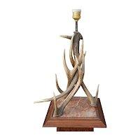Vintage Antler Hunting Table Lamp