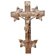 Crucifix Christ Corpus  Antique Black Forest Wooden Stand