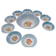 Vintage Porcelain Master Fruit Bowl with 9 Serving Bowls