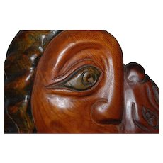 Vintage Fine Carved Wood Sculpture Made in the Style of Pablo Picasso