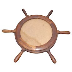 Vintage Walnut Ship Steering Wheel Mirror or Picture Frame