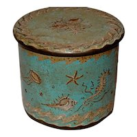 Antique Decorated Blue Toleware Box w. Sea-Life Decor