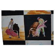 Tile Plaque, Set of 12 Old Spanish Tiles with Bullfighting Scenes