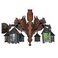 Spooky Vintage Wooden Neo Gothic Art Dragon Chandelier w. Lantern