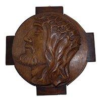 Art Nouveau Oak Wall Relief Plaque with Portrait of Jesus