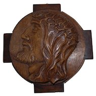 Art Nouveau Oak Wall Relief Plaque with Portrait of Jesus