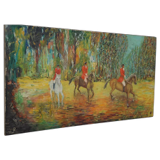 Vintage Painting, Horse Hunting Scene, Made in the Style of Monet