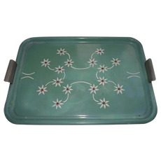 Vintage Heavy Enamel Tray with Floral Decor