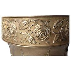 Art Nouveau Brass Jardiniere, Plant Holder with Rose Flower Decor