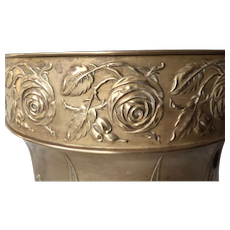 Art Nouveau Brass Jardiniere, Plant Holder with Rose Flower Decor