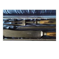 3 Pieces Carving Set with Bull Horn Handles in Box