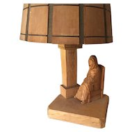Gérard Fortin, Sculpture , Nice Wood Carved Figural Table Lamp