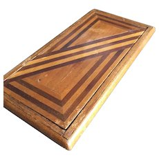Antique Parquetry Inlaid Wood Cigarette Case Holder