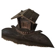 Vintage Black Forest Wooden Inkwell Stand w Chalet