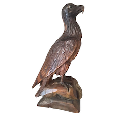 Black Forest Carved Wood Eagle Sculpture