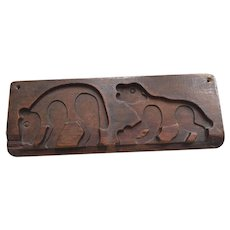 Carved Wood Bear Cookie Mold or Gingerbread