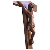 Antique Fine Oakwood Wall Crucifix