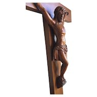 Antique Fine Oakwood Wall Crucifix