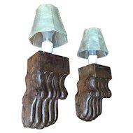 Vintage Pair Wooden Claw Sconces