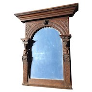 Wooden Wall Mirror Picture Frame with Putti Decor