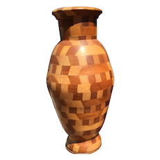 Vintage Solid Marquetry Inlaid Art Wood Turning Vase