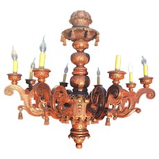 Richly Carved in Wood 16-light Baroque Large Chandelier Pendant Fixture