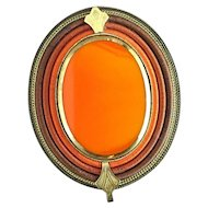 Art Deco Langani Vintage Brooch Inlaid with Glass Stone - 14K Gold Plated