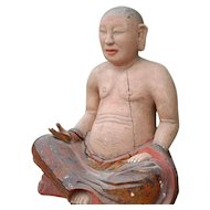 Sitting Buddha China, Late Ming Dynasty Wood Statue