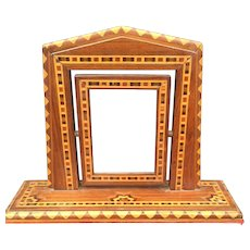 Antique Inlaid Wood Art Swivel Picture Frame