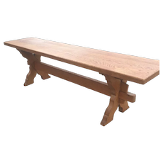 Vintage Solid Oak Wood Cloister Style Bench