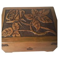 Art Nouveau Carved Wood Jewelry Box -Casket