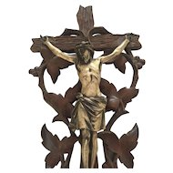 Black Forest Carved Holy Font Crucifix with Shell