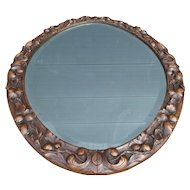 Carved Black Forest Wall Mirror with Branch and Leaf Decor