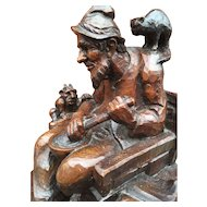 Wizard Art : Carved  Wizard Statue Group with Owl, Cat