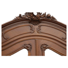 Antique French Louis XV Rococo Walnut Armoire